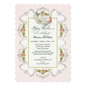 Baby Shower Fairy Tea Party Teapot n Cups Invitation