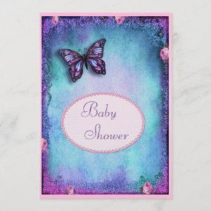 Baby Shower Faux Glitter, Butterfly, Roses, Lace Invitation