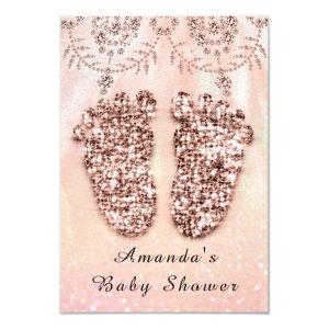 Baby Shower Feet Girl Boy Royal Rose Glitter Lace Invitation