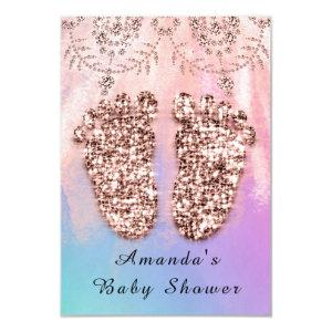 Baby Shower Feet Girl Boy Royal Rose Glitter Skin Invitation