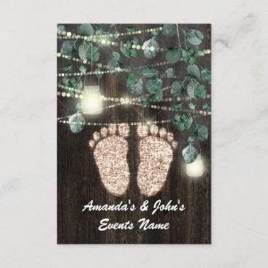 Baby SHOWER Feet  Rustic Green Wood Rose GOLD Invitation