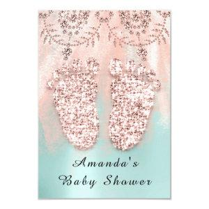 Baby Shower Feet Silver Girl Boy Royal Rose Mint Invitation