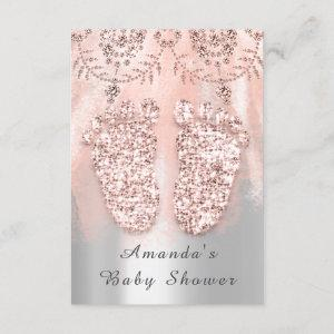 Baby Shower Feet Silver Girl Royal Rose Lace Pink