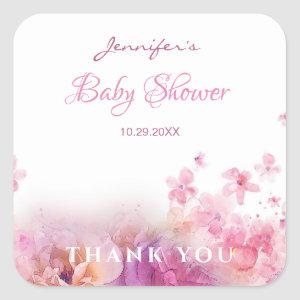 Baby Shower Flowers Roses Watercolor Art Elegant Square Sticker