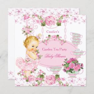 Baby Shower Garden Tea Party Lace Pink Blonde Invitation