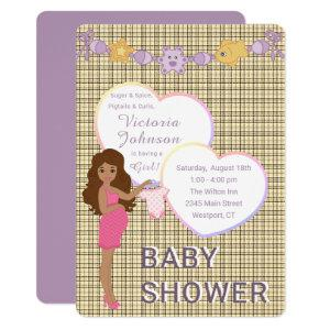 Baby Shower Girl Gender Reveal Plaid Announcement