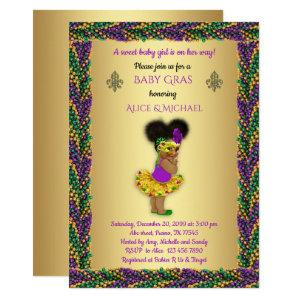 Baby Shower Girl,Mardi Gras Girl,gold, pearl color Invitation