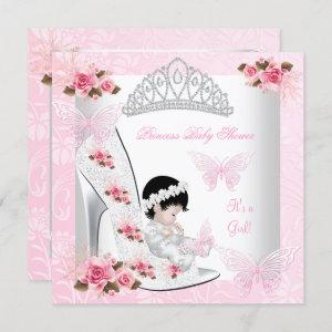 Baby Shower Girl Princess Butterfly Shoe Pink Rose
