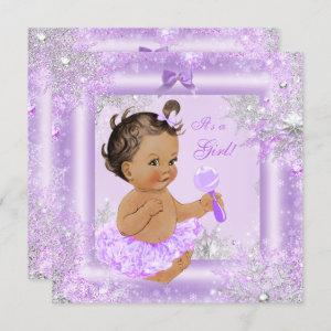 Baby Shower Girl Winter Lavender Snowflake Brunett Invitation