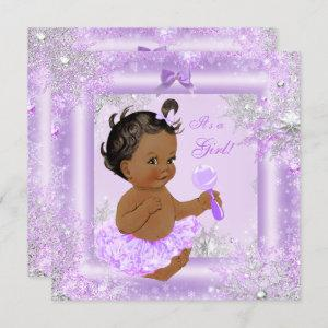 Baby Shower Girl Winter Lavender Snowflake Ethnic Invitation