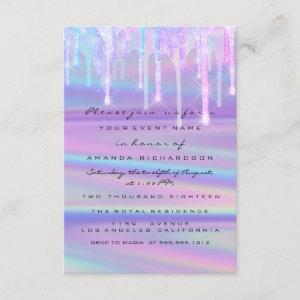 Baby Shower Girly Feet Drips Holograph Purple Pink