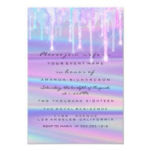 Baby Shower Girly Feet Drips Holograph Purple Pink Invitation