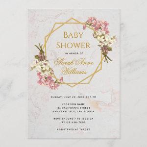 Baby Shower Gold Pink Orchids Floral Geometric
