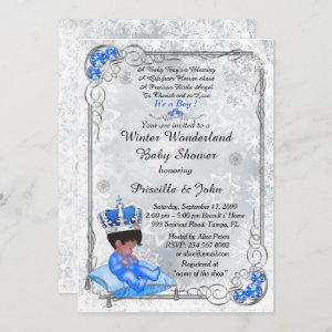Baby Shower honoring BOY,Prince Boy,Silver & Blue. Invitation