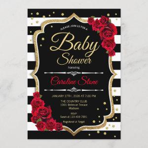 Baby Shower Invitation Black White Stripes Roses