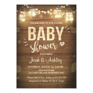 Baby shower invitation Coed Rustic Wood Mason Jars