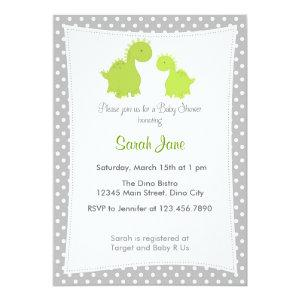 Baby Shower Invitation Cute Dinosaur Grey Green