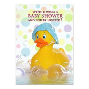 BABY SHOWER INVITATION - DUCKY AND BUBBLES