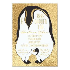 Baby Shower Invitation Gold Baby & Mommy Penguin
