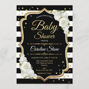 Baby Shower Invitation Gold Black White