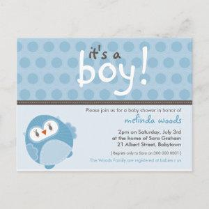 BABY SHOWER INVITATION :: it's a boy owl 7