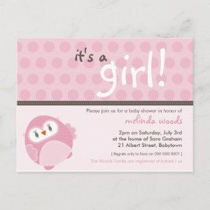 BABY SHOWER INVITATION :: it's a girl owl 4