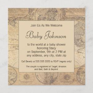 Baby Shower Invitation -  Vintage Map Theme