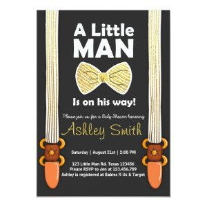 Baby Shower Invite Little Man Bow Tie Black Gold