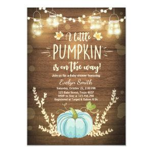 Baby Shower invite Little Pumpkin Fall Rustic Boy