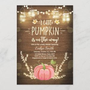 Baby Shower invite Little Pumpkin Fall Rustic Pink