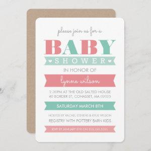 BABY SHOWER INVITE modern gender reveal coral mint