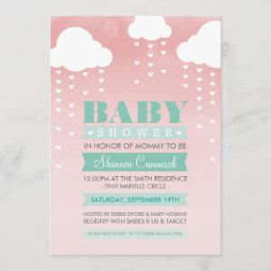 BABY SHOWER INVITE ombre watercolor mint coral