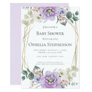 BABY SHOWER | Lavender Watercolor Flowers Invitation