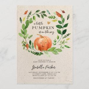 Baby Shower Little Pumpkin Fall Rustic Greenery Invitation