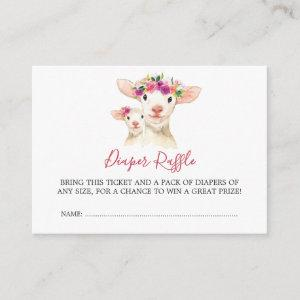Baby Shower Mom And Baby Lamb Diaper Raffle Enclosure Card