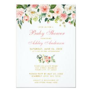 Baby Shower Pink Floral White Gold Invite GP
