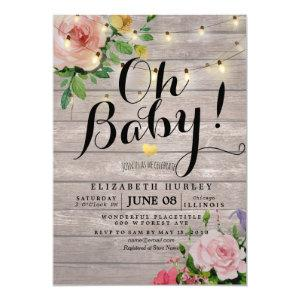 Baby Shower Pink Flowers Rustic Wood String Lights Invitation
