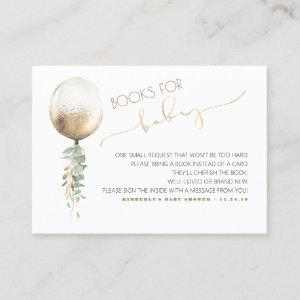 Baby Shower Request -Gold Balloon Greenery Garland Business Card