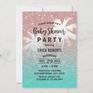 Baby Shower Rose Gold Glitter Tropical Palm Tree Invitation