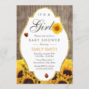 Baby Shower Rustic Sunflower Ladybug Country Girl Invitation