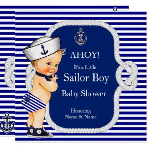 Baby Shower Sailor Boy Blue Stripe Blonde Invitation