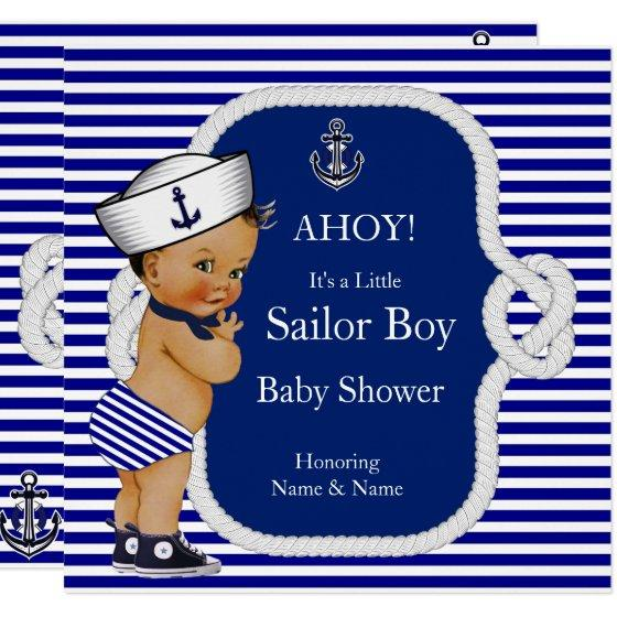 Baby Shower Sailor Boy Blue Stripe Brunette Invitation