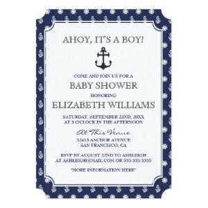 Baby Shower | Stylish Formal Navy Nautical Anchor Invitation