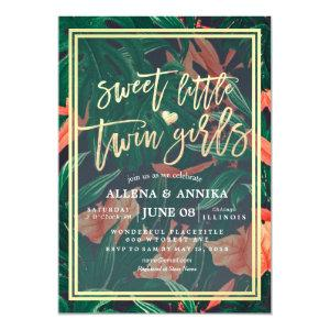 Baby Shower Sweet Little Twin Girl Tropical Floral Invitation