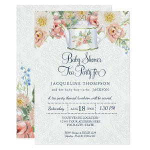 Baby Shower Tea Party Dusty Blue Blush Pink Teapot Invitation