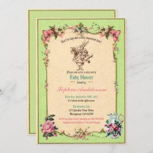 Baby shower tea party green sip and see invitation