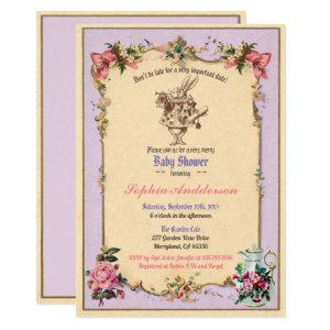 Baby shower tea party purple lilac sip and see invitation