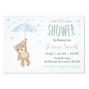 Baby Shower Teddy Bear Invitation Baby Boy blue
