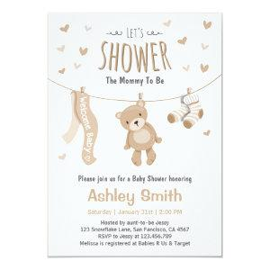 Baby Shower Teddy Bear Invitation Brown White