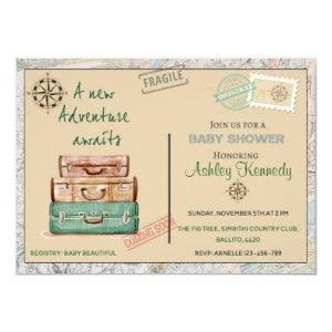 Baby shower travel theme party invitation 4 x 6